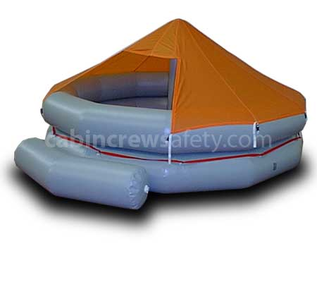 Air crew wet drill training emergency life raft