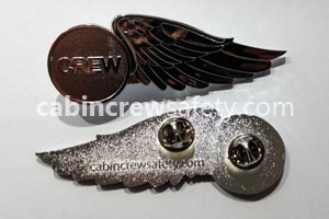 82000033 - Cabin Crew Safety Metal Flight Attendant Wing Badge 10 Pack