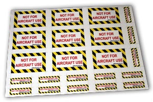 86000013 - Cabin Crew Safety NOT FOR AIRCRAFT USE Adhesive Vinyl Sticker Set